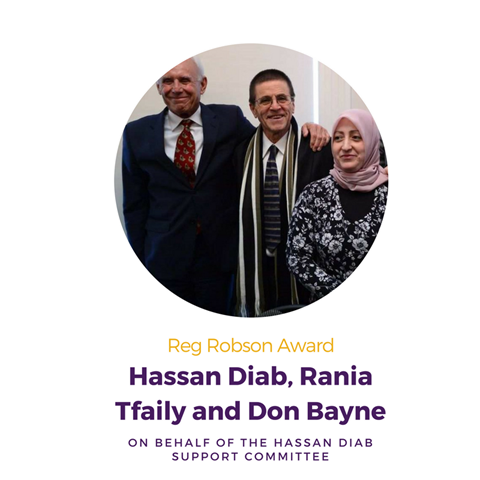 Hassan Diab, Rania Tfaily and Don Bayne on behalf of the Hassan Diab Support Committee