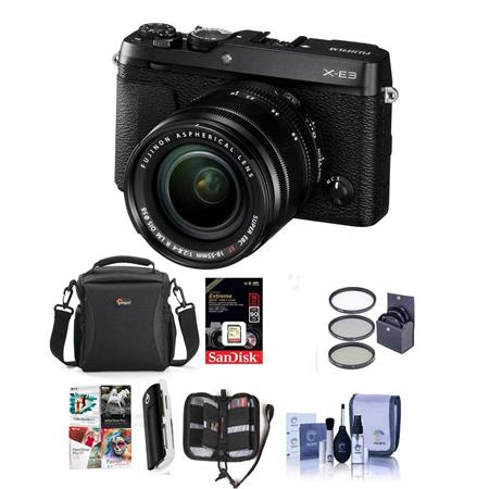 X-E3 Mirrorless Camera with XF 18-55mm f/2.8-4 R LM OIS Zoom Lens, Black - Bundle With Cam