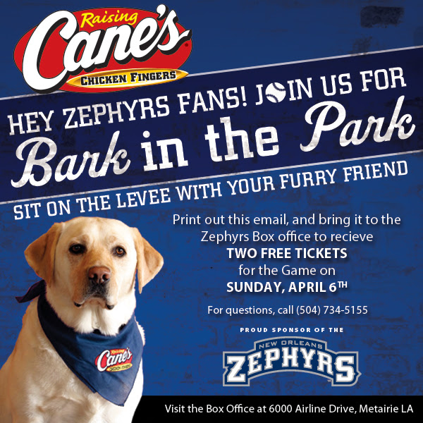 FREE TICKETS to the Zephyrs Ba...