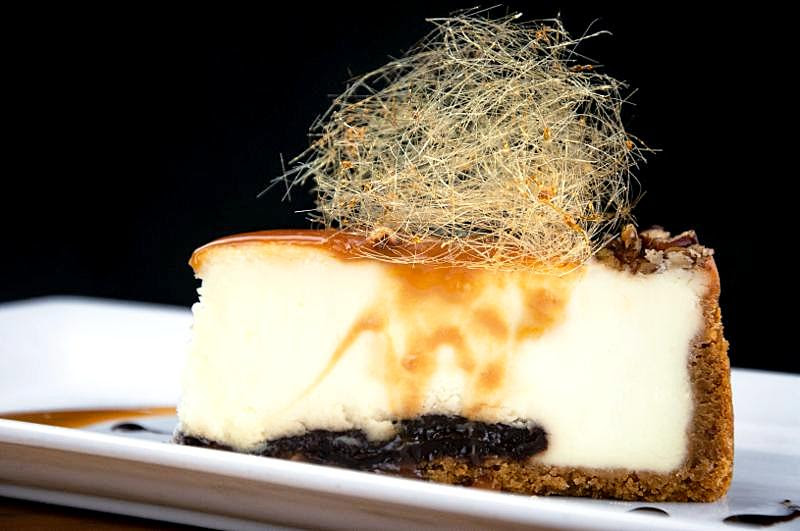 Turtle Cheesecake with spun sugar image