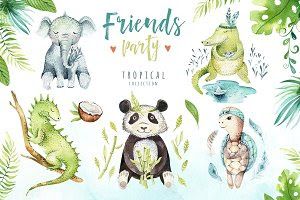 Friends party. Tropical collection