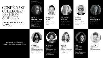 Condé Nast College of Fashion & Design Advisory Council Members; from top Advisory Council Chair, Edward Enninful, Caroline Rush, Donatella Versace, Fabien Baron, Grace Coddington, Naomi Campbell, Roberta Annan, Sarah Mower, Suzy Menkes, Victoria Beckham