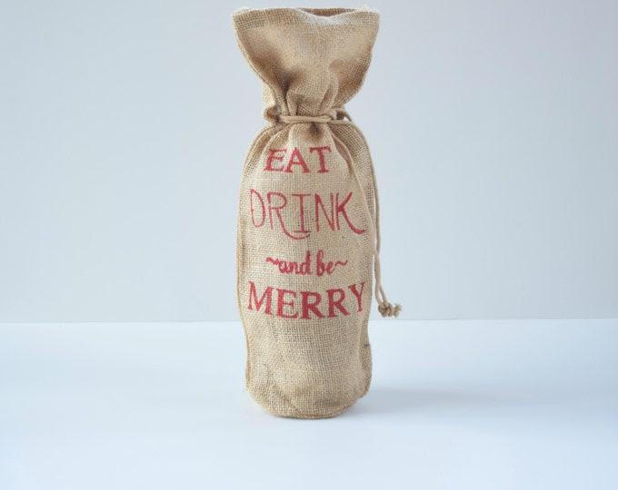 Burlap Wine Bag- Christmas Gift- Hostess Gift- Gift for Her- Stocking Stuffers- Burlap Wine Bag- Holiday Wine Bag- Christmas Gift Bag