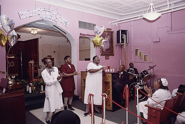 "Lilly of the Valley Spiritual Church, singing "" I realy like my God. I do, I do, I do,"" 48th Place, at S. Princeton Ave., Chicago, 2002"