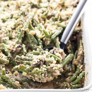 Low Carb Gluten Free Green Bean Casserole Christmas side dishes recipe.