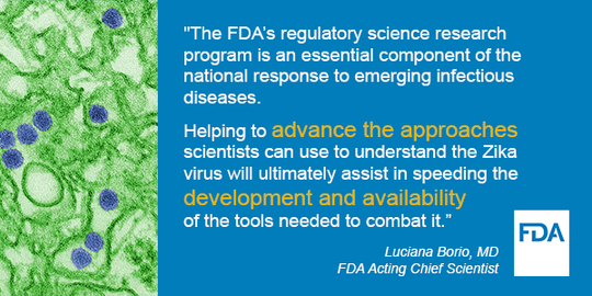 The FDA's regulatory science research program is an essential component of the national response to emerging infectious diseases.