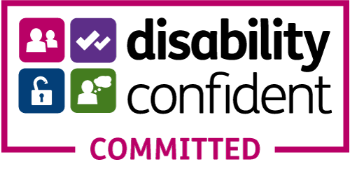 Logo reading Disability Confident Committed