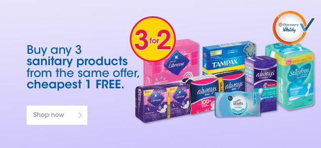Buy any 3 sanitary products from the same offer, cheapest 1 FREE