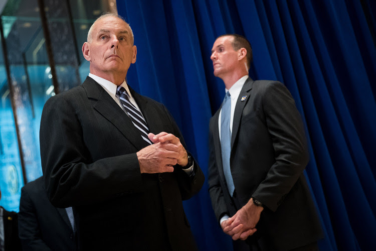 White House Chief of Staff Gen. John Kelly looks on as President Donald Trump speaks at Trump Tower. (Drew Angerer/Getty Images)