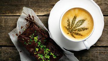 Marijuana Leaf on Coffee Foam