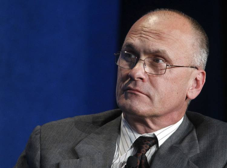 Andrew Puzder speaks at an event put on by Michael Milken. (Fred Prouser/Reuters)
