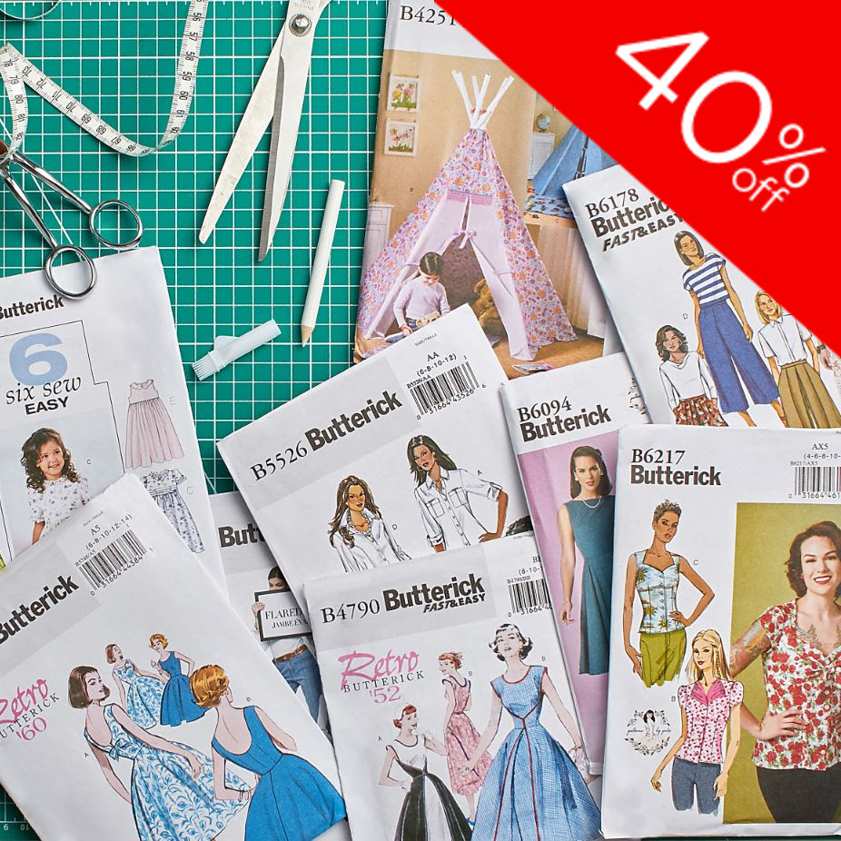 40% OFF ALL BUTTERICK PATTERNS