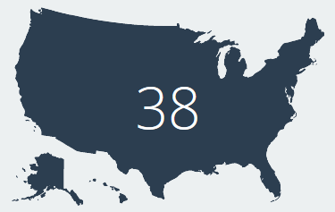 u.s. map with the number 38 overlayed