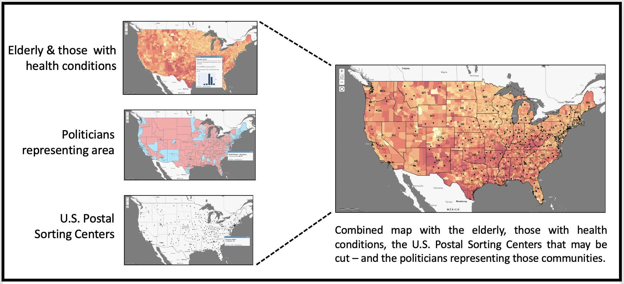 Mapping three layers - the elderly, those with health conditions, rural communities, U.S. Postal Sorting Centers and the politicians who represent those areas.