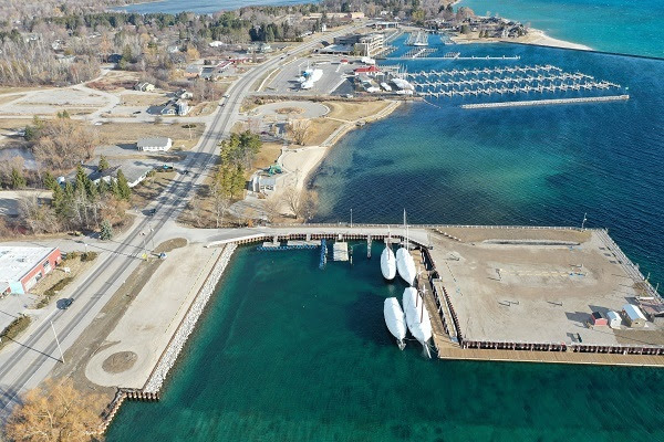 aerial view of Discovery Pier and Park in Traverse City, Michigan
