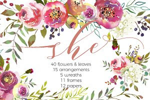 She-Watercolor Floral Design Set
