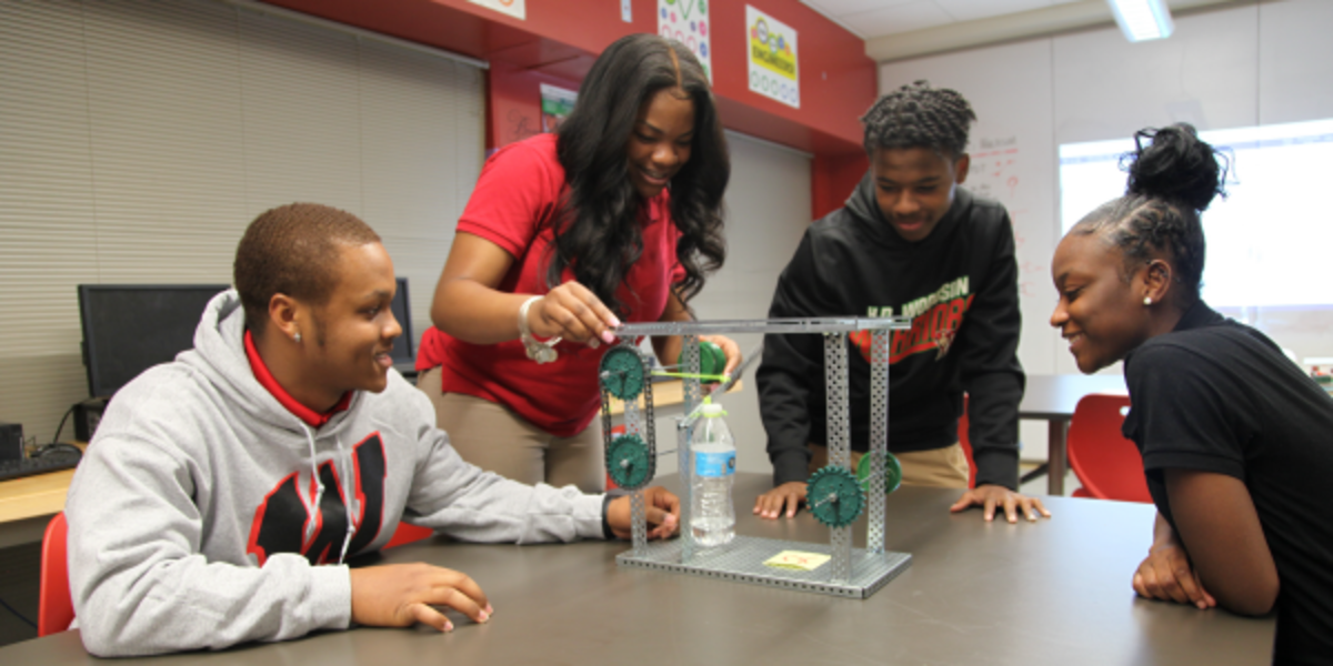 Students in the NAF Engineering Academy at H.D. Woodson High School