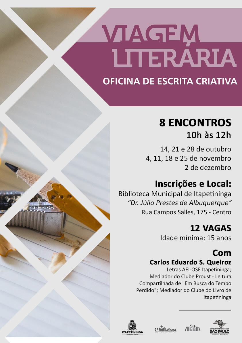 Biblioteca realiza Oficina de Escrita Criativa em Itapetininga