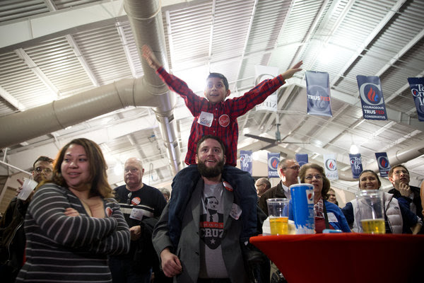 Supporters of Senator Ted Cruz cheered during caucus-watching party at the fairgrounds in Des Moines on Monday. Mr. Cruz's win firmly established him as a top-tier candidate.