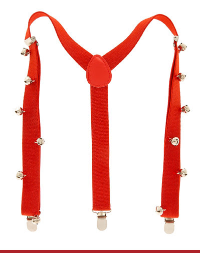 RED JINGLE BELLS SUSPENDERS