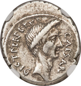 Julius Caesar, as Dictator (49-44 BC). AR denarius (19mm, 3.95 gm, 3h). NGC Choice VF 4/5 - 4/5