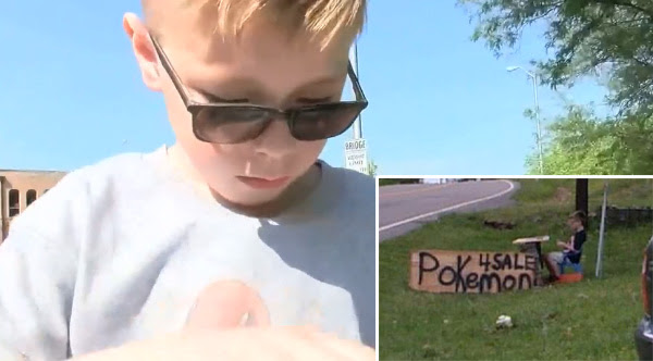 Young boy selling Pokémon cards