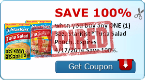 Save 100% when you buy any ONE (1) 3oz. StarKist® Tuna Salad Pouch..Expires 4/17/2014.Save 100%.
