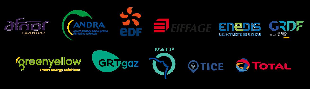 logos des industriels DRIM'in Saclay 2019 AFNOR, ANDRA, EDF, EIFFAGE, ENEDIS, GRDF, GREENYELLOW, GRT GAZ, RATP, TICE, TOTAL