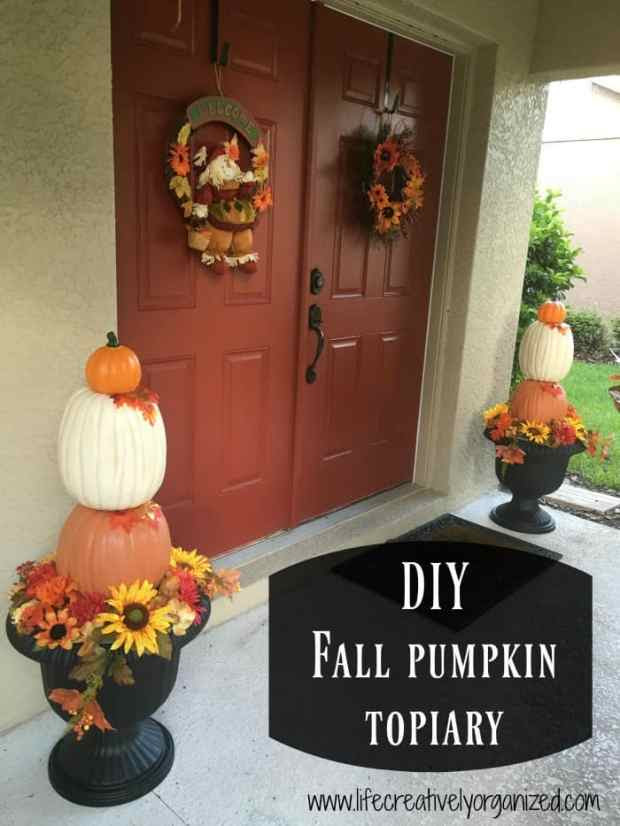 How to make your own elegant fall pumpkin topiary. This easy topiary only took an afternoon to make and brings a touch of elegant fall decor to your space.