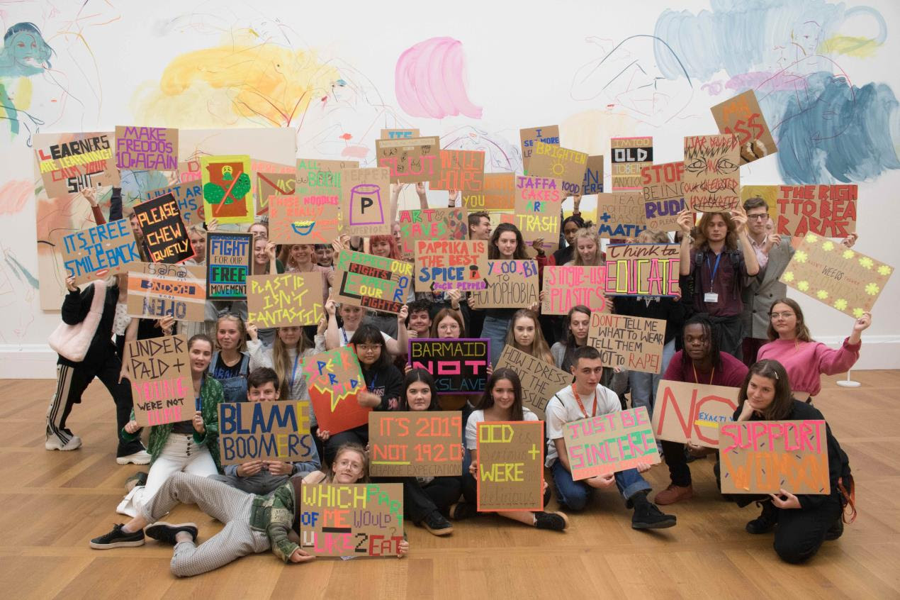 Students from Plymouth College of Art protest at Tate Britain 3