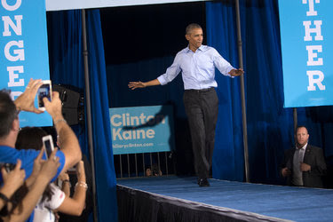 President Obama at a voter turnout rally in North Las Vegas on Sunday. The president stepped up his criticism of Donald J. Trump on Monday, depicting him as a threat to the republic.