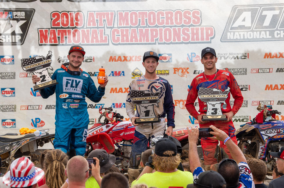 Joel Hetrick (center), Thomas Brown (left) and Nick Gennusa (right) rounded out the RedBud ATVMX Overall podium.