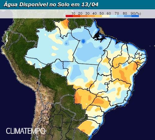 Mapa de água disponível no solo nesta 6ª feira - Fonte: Climatempo