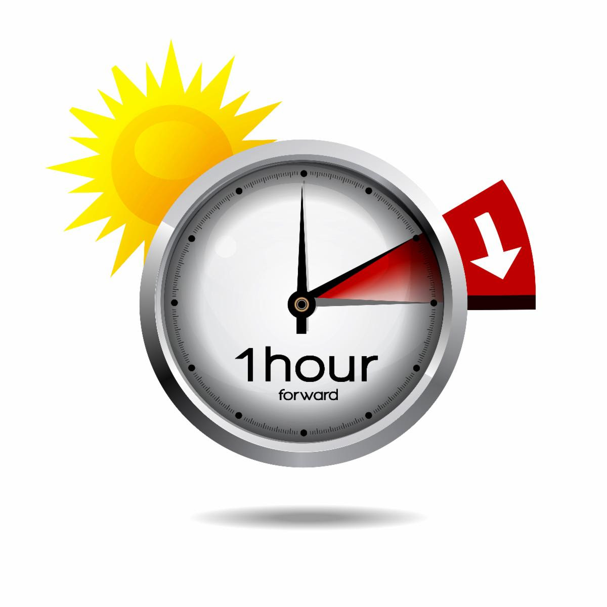 Clock with sunshine and hands moving forward