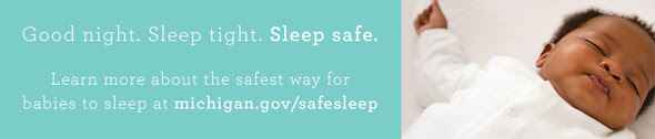 Safe Sleep Message with image of sleeping baby