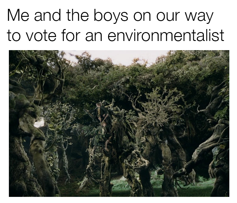 """Image of trees walking with the words """"me and the boys on our way to vote for an environmentalist"""""""