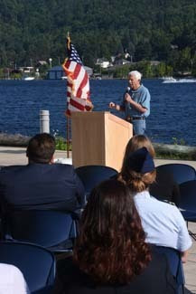 U.S. Rep. Jack Bergman makes remarks at the Aug. 10 dedication ceremony at the Great Lakes Research Center in Houghton.