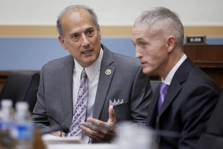 Rep.Tom Marino (R-Pa.) talks to Rep.Trey Gowdy (R-S.C.) before the start of a House Judiciary Committee hearing. (Andrew Harrer/Bloomberg News)