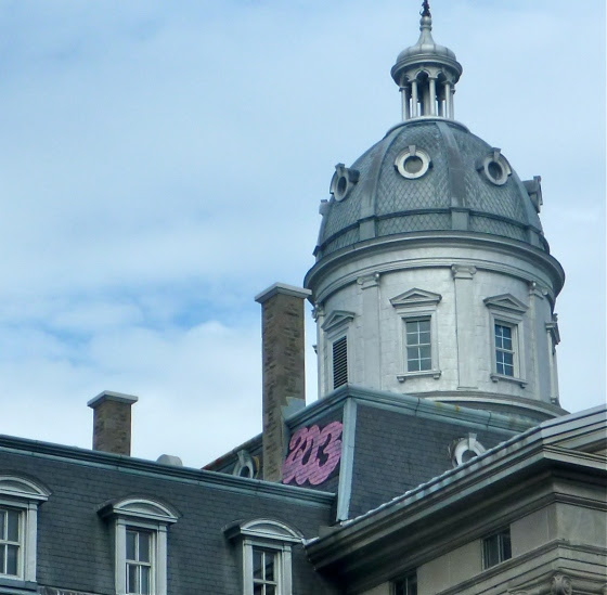 One of many, many interesting rooftops in Montreal.