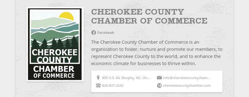 CHEROKEE COUNTY CHAMBER OF COMMERCE Facebook The Cherokee County Chamber of Commerce is an...