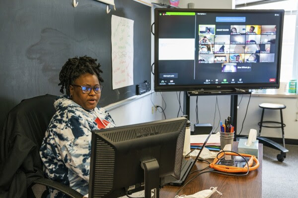 Tanya Holyfield, a second grade teacher with Manchester Academic Charter School, teaches remote students from her classroom on March 4, 2021, in Pittsburgh.