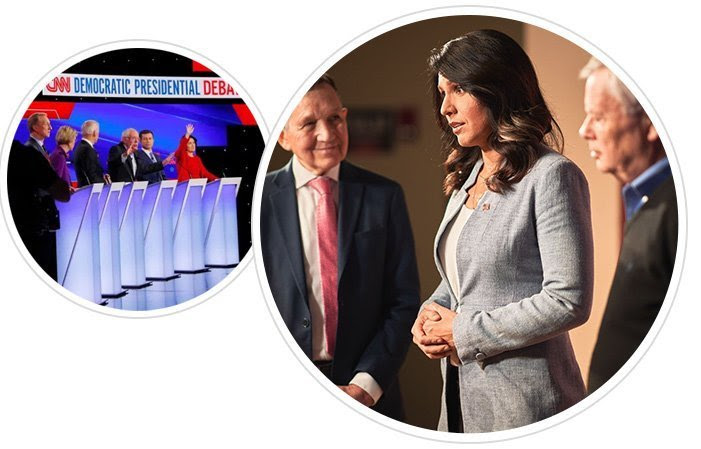 Image of Tulsi on stage in Concord, NH, and the presidential debate stage.