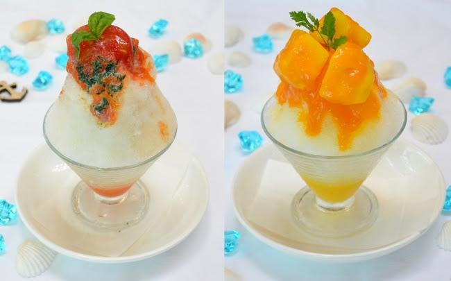 (左)「賀茂トマトとバジルの練乳がけ氷」(右)「マンゴーかき氷」