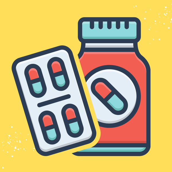 A pill bottle on yellow background