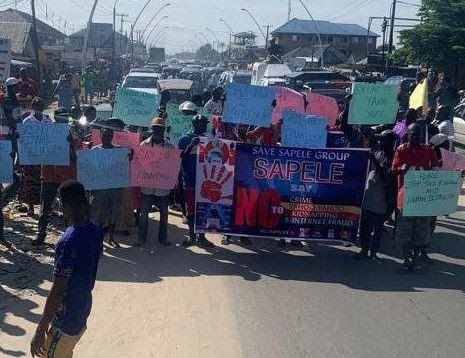 Angry youths protest against