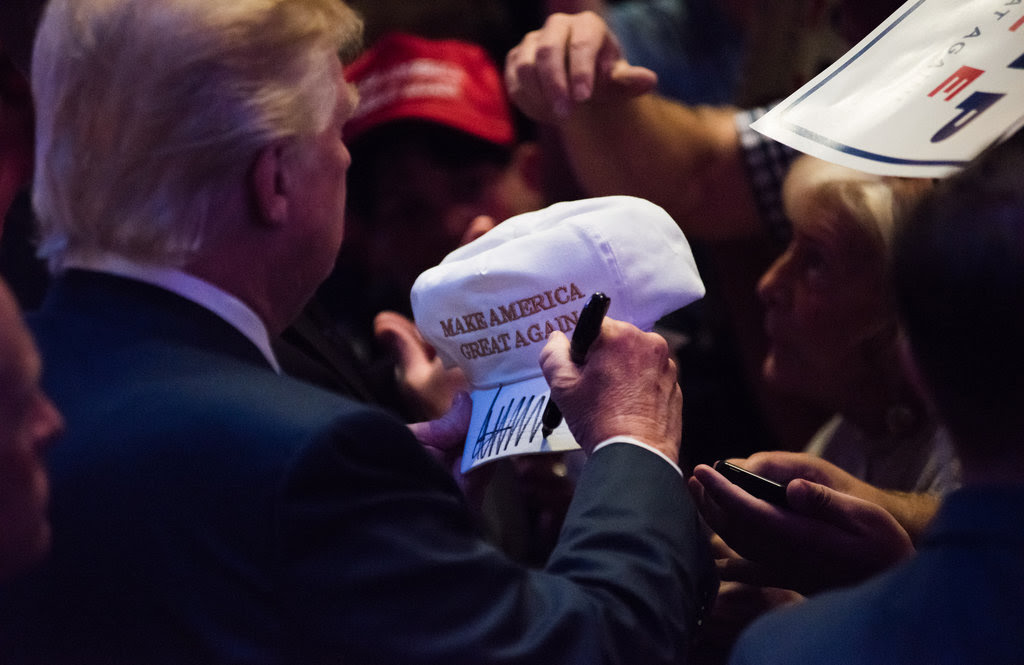 Donald J. Trump signing autographs on Thursday after his speech in Portland, Me.