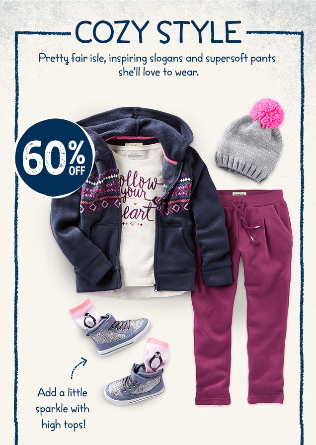OshKosh 60% off laid-back look...