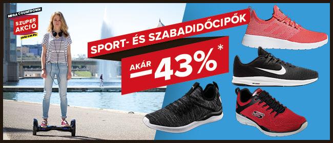 Webshop akciók - Sport- és szabadidőcipők akár -43%!