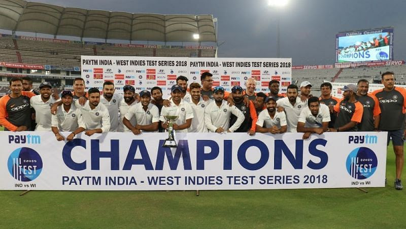 Indian team posing with the trophy