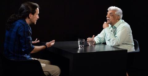 Pablo Iglesias y Tariq Ali. PABLO GABANDÉ